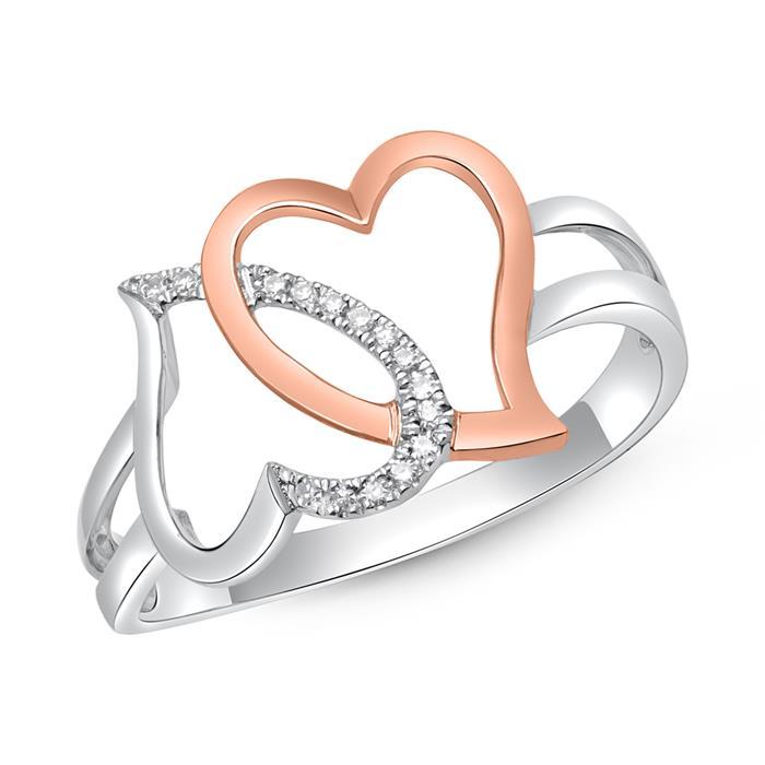 Diamantring Herzen 585 Weißgold 0,042 ct gesamt