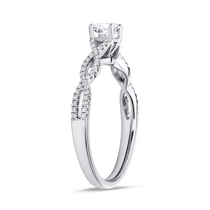 Twistring mit Diamanten 0,18 ct gesamt Weißgold
