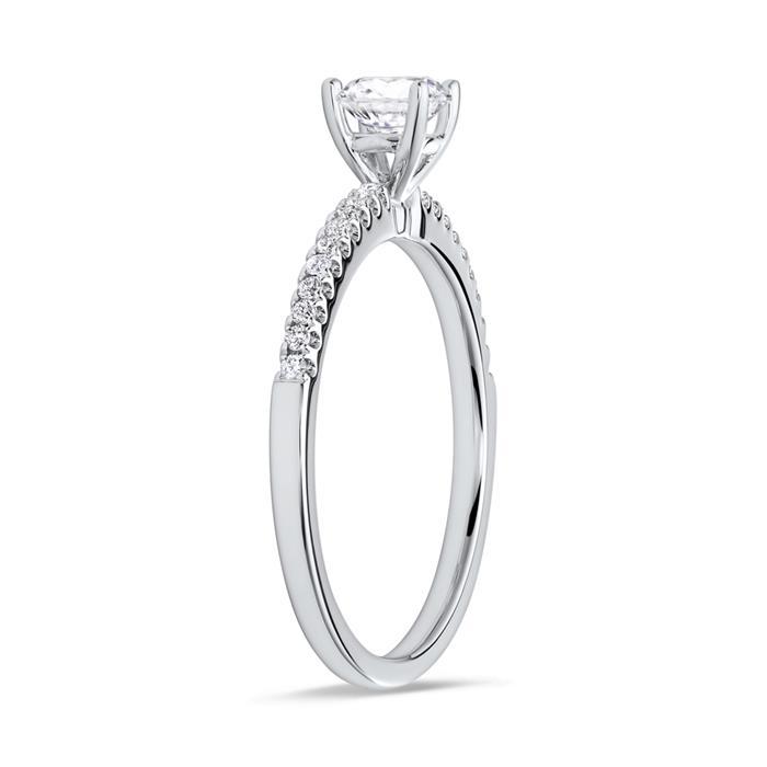 Weißgoldring mit Diamanten 0,13 ct gesamt