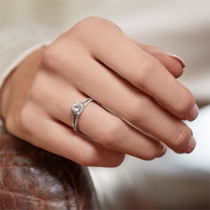 Diamantring Diamanten 0,54 ct gesamt Weißgold