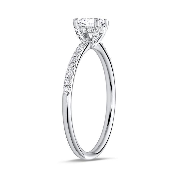 Diamantring mit 0,78 ct gesamt 750 Weißgold