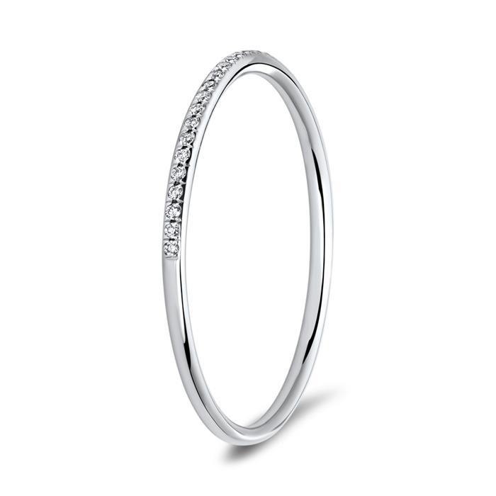 Schmaler Diamantring 750er Weißgold Diamanten