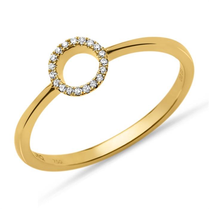 750er Gelbgoldring Diamanten 0,05 ct. gravierbar