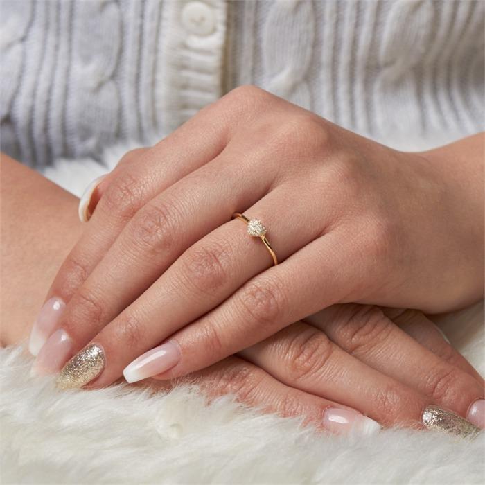 Ring 45 Diamanten 0,10 ct Herz 750er Gelbgold