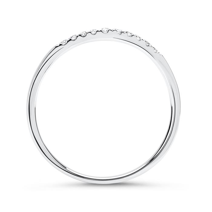 Geschwungener 750er Weißgold Ring 10 Diamanten