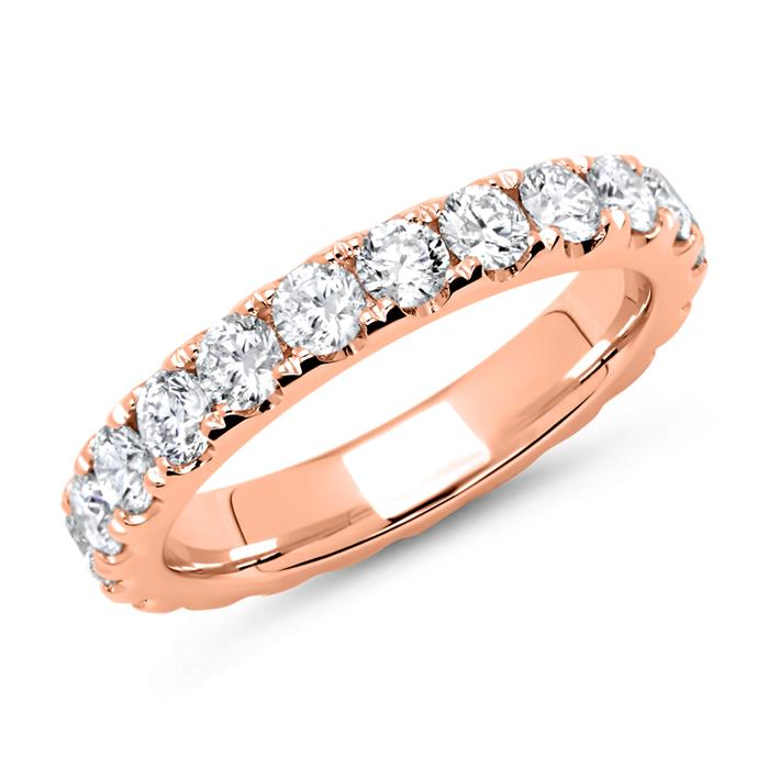 585er Roségold Memoire Ring 22 Diamanten