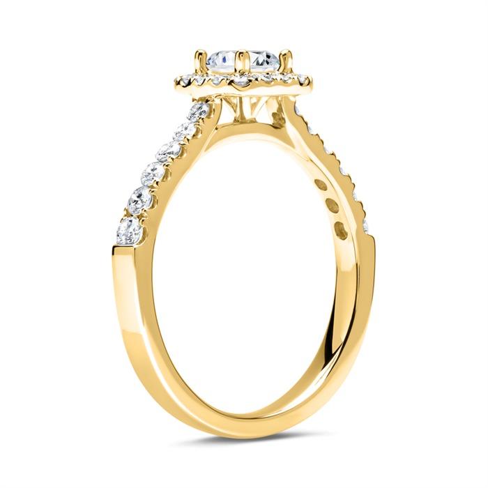 18 Karat Gold Halo Ring mit Brillanten