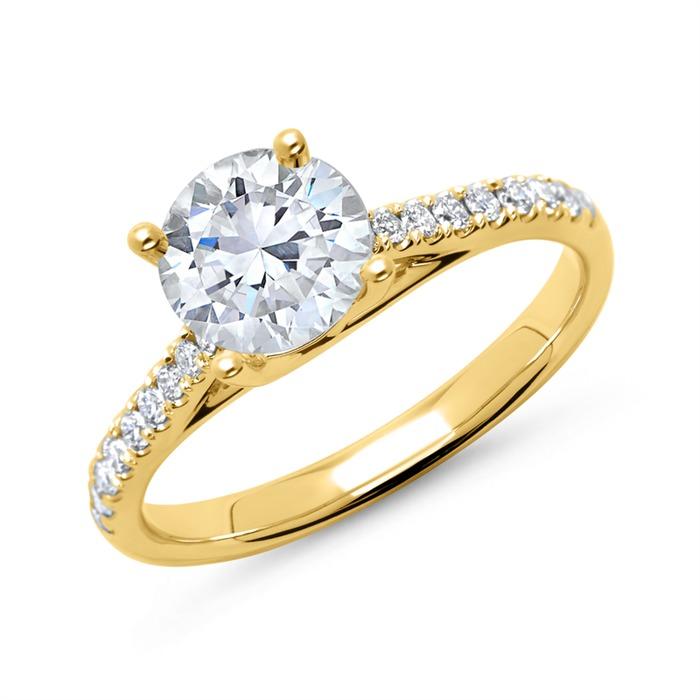 585er Gold Damenring mit Diamanten