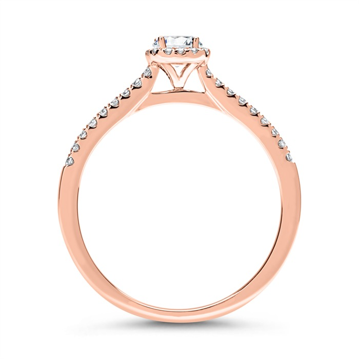Halo Ring 750er Roségold mit Diamanten