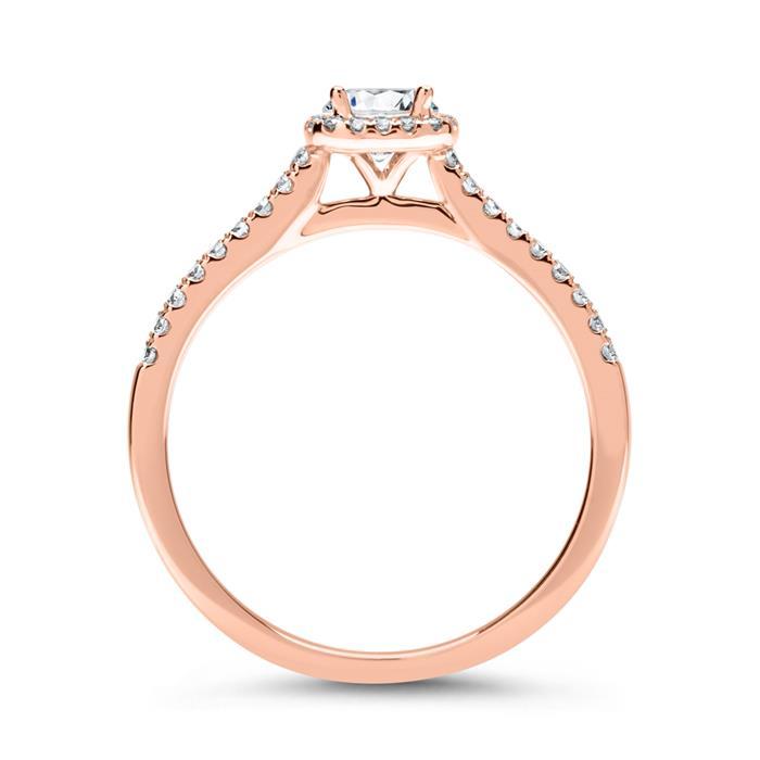 585er Roségold Ring mit Diamanten