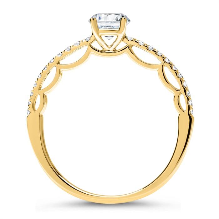 585er Gold Ring mit Diamantbesatz