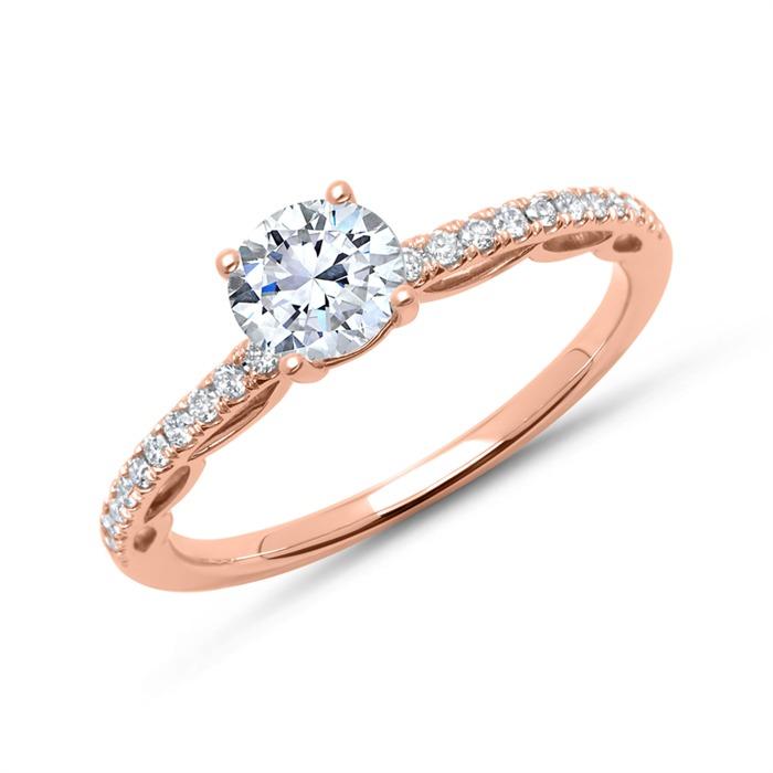 585er Roségold Ring mit Diamantbesatz