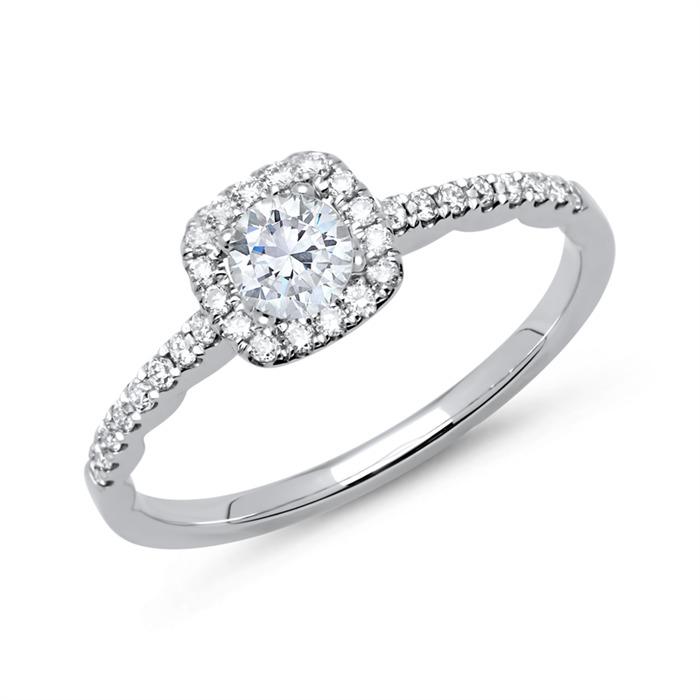 Halo Ring 585er Weißgold mit Diamanten