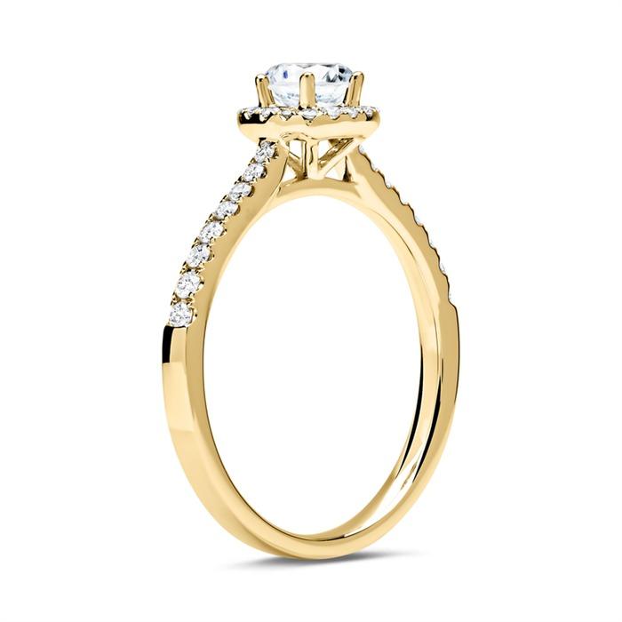 585er Gold Halo Ring mit Brillanten