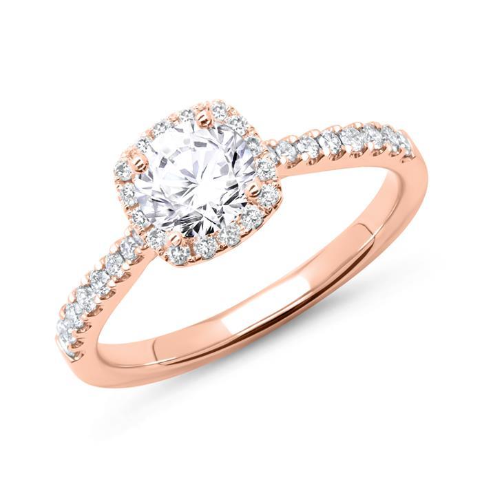 585er Roségold Verlobungsring mit Diamanten