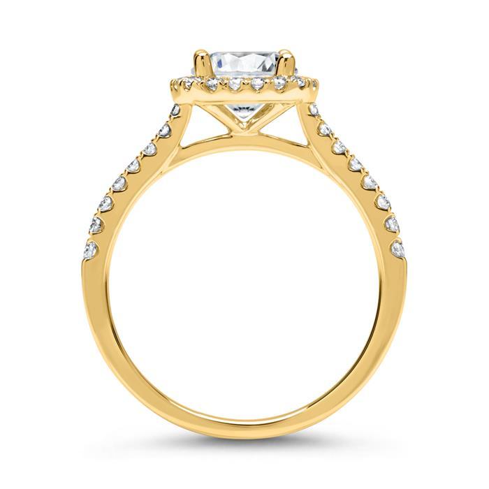 750er Gold Halo Ring mit Diamanten