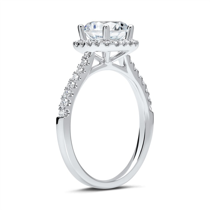 950er Platin Halo Ring mit Diamanten