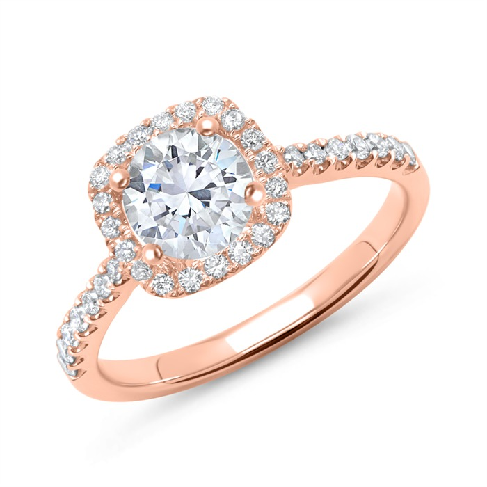 750er Roségold Halo Ring mit Diamanten