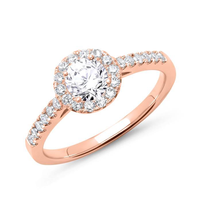 Verlobungsring 750er Roségold mit Diamanten