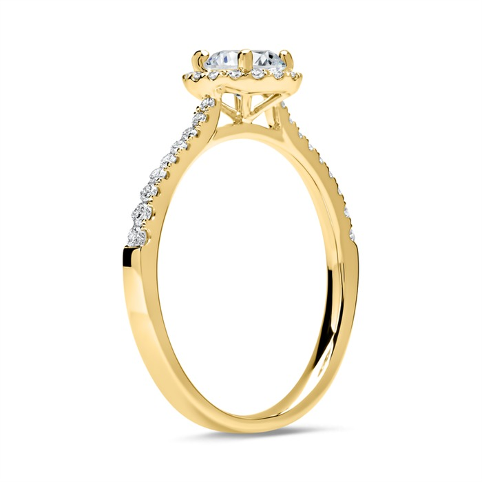 585er Gold Halo Ring mit Diamanten