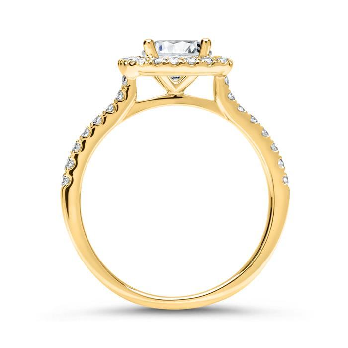 Halo-Ring 585er Gold mit Diamanten