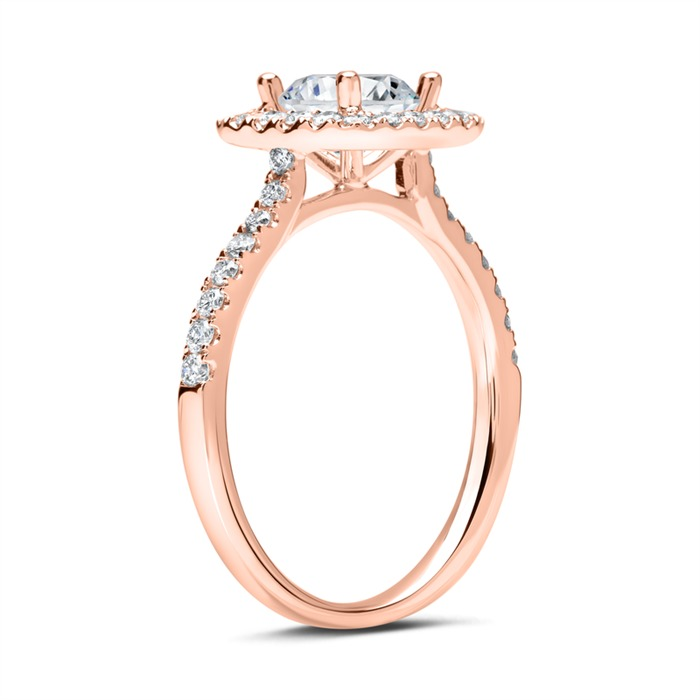 Halo-Ring 750er Roségold mit Diamanten