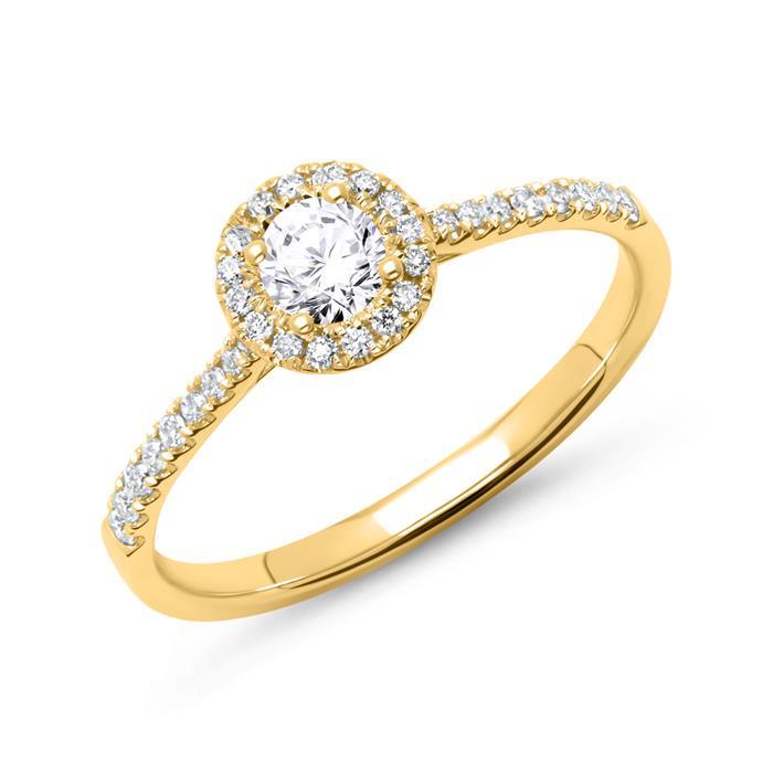 750er Gold Halo Ring mit Brillanten