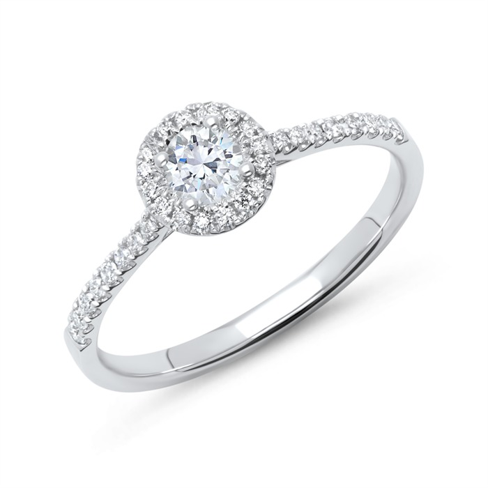 950er Platin Halo Ring mit Brillanten