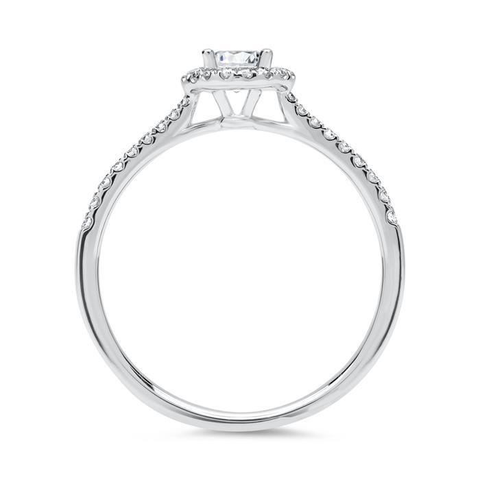 750er Weißgold Halo Ring mit Brillanten