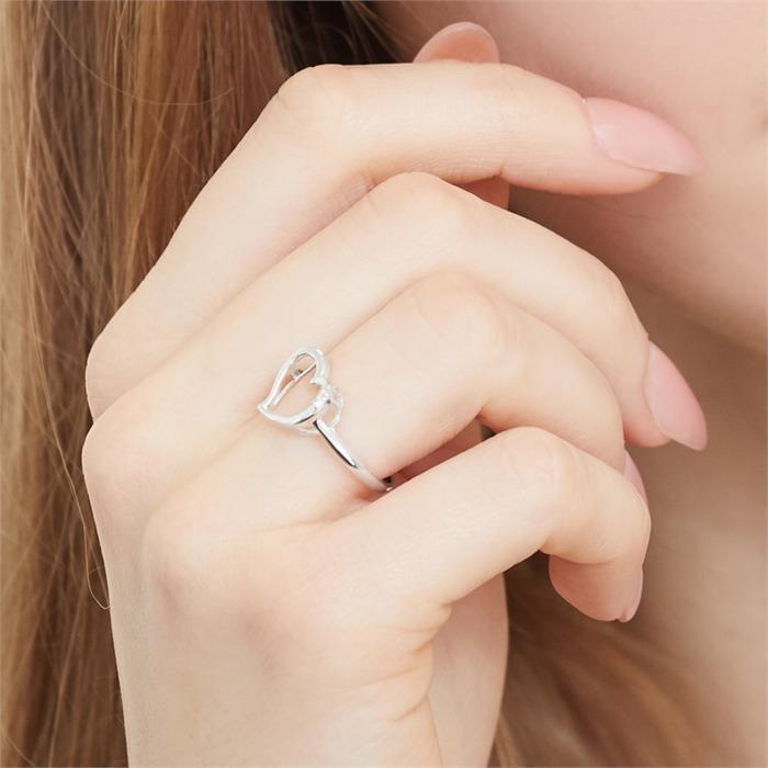 585er Weißgold-Ring Herz mit 2 Diamanten 0,017 ct.