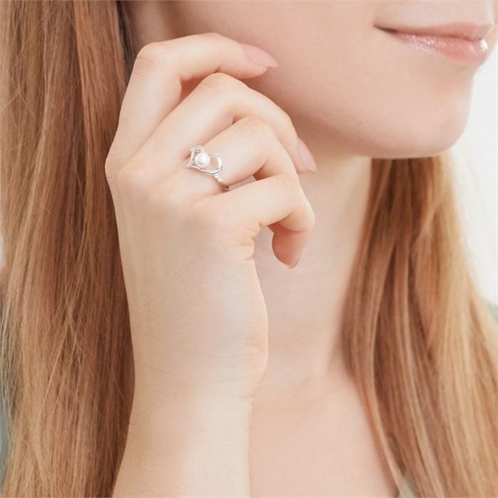 585er Weißgold-Herzring 4 Diamanten 0,028 ct.