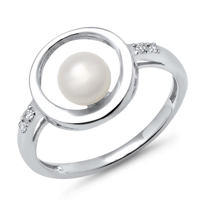 585er Weißgold-Ring Perle 4 Diamanten 0,028 ct.