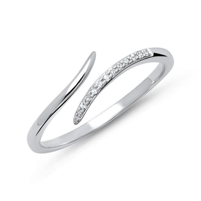585er Weißgold-Ring 14k 12 Diamanten 0,06ct.