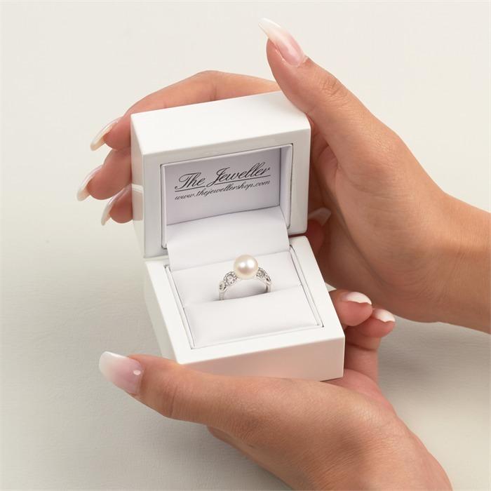 585er Weißgold-Ring Perle 20 Diamanten 0,12 ct.
