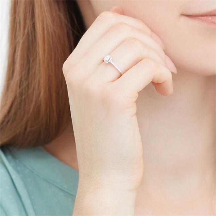 585er Weißgold-Ring mit 27 Diamanten 0,26 ct.