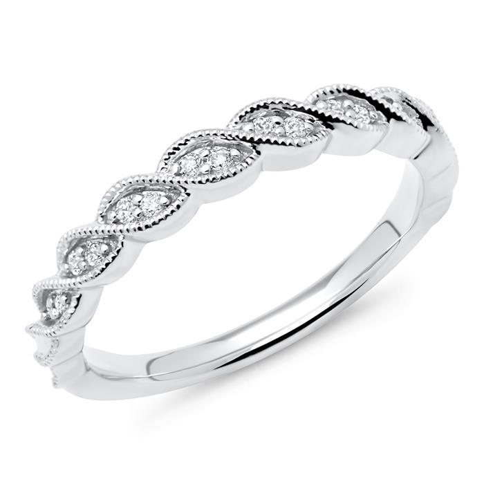 585er Weißgold-Ring mit 14 Diamanten 0,09 ct.