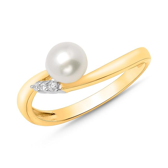 585er Gelbgold-Ring Perle 3 Diamanten 0,0335 ct.