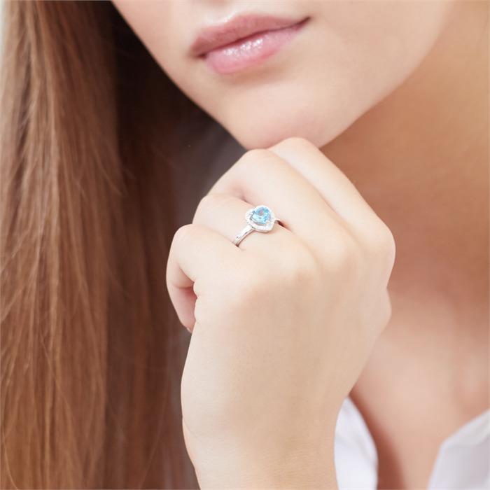 585er Gold-Ring Topas 0,94 ct. Diamant 0,053 ct.