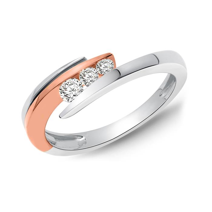 Damen-Ring 585er Weißgold 3 Diamanten 0,16 ct.