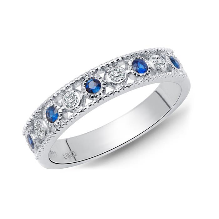 Ring 585 Weißgold Diamanten 0,030 ct. Saphire 0,188 ct.