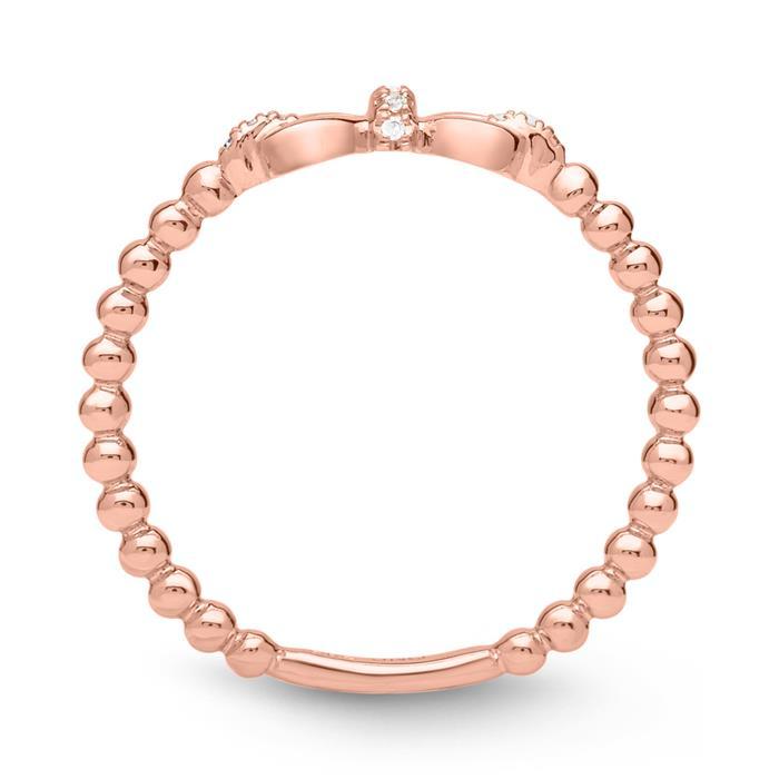 Ring 585er Roségold Diamanten 0,028 ct. Schleife