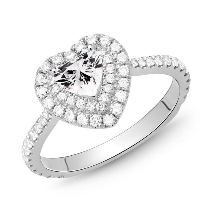 Herz Ring 750er Weißgold mit Diamanten