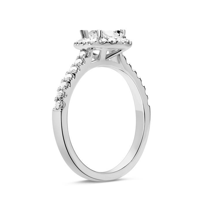 750er Weißgold Ring Tropfen mit Diamanten