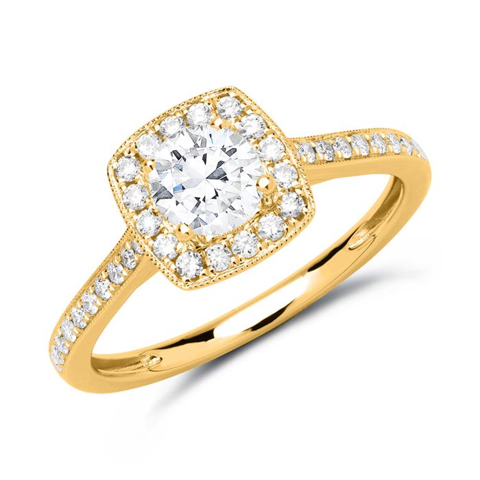 Halo Ring 585er Gold mit Diamanten