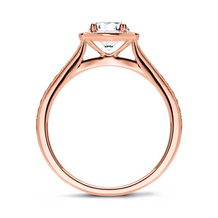 Halo Ring 585er Roségold mit Diamanten