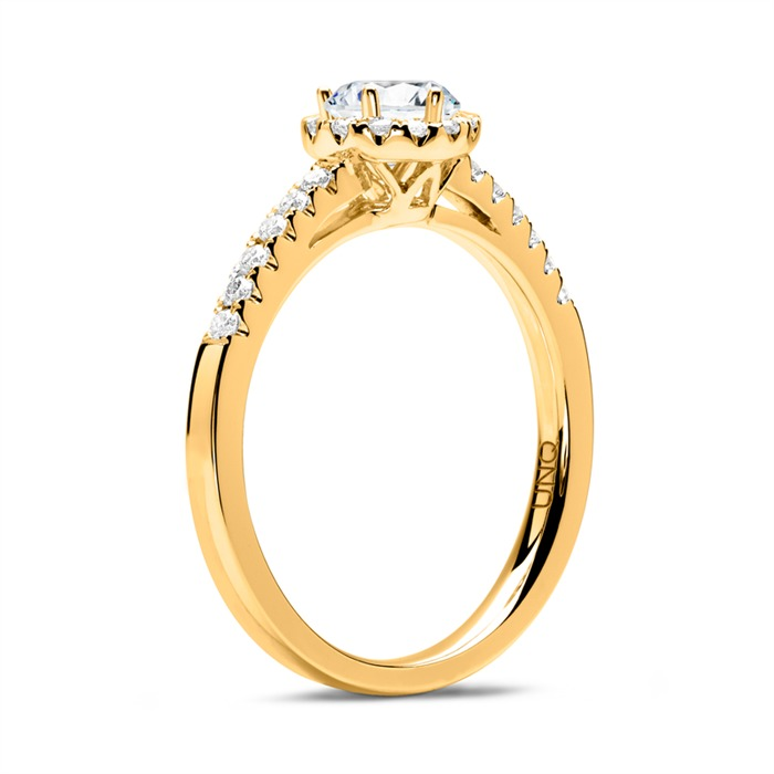 750er Gold Halo Ring mit Diamanten