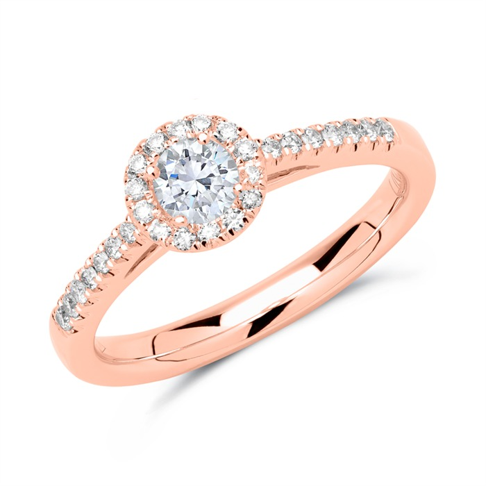 Halo Ring 585er Roségold mit Brillanten