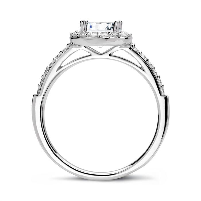 950er Platin Halo Ring mit Diamanten