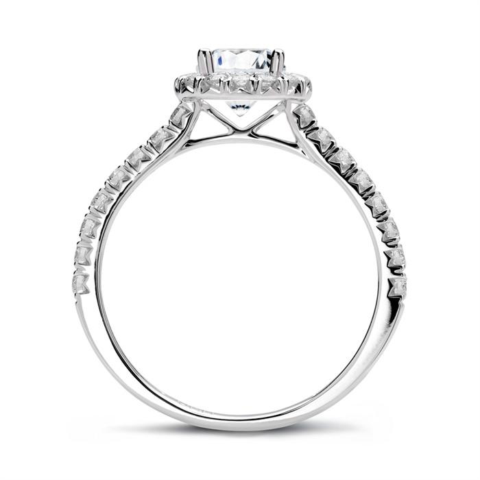 Verlobungsring 585er Weißgold mit Diamanten
