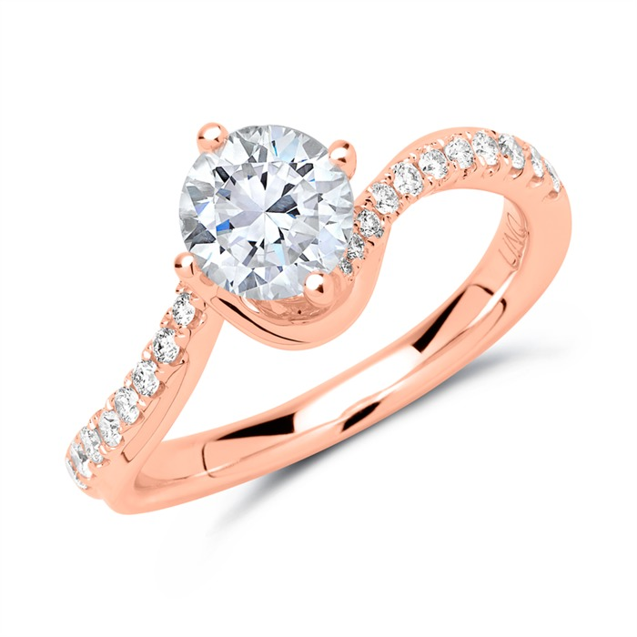 585er Roségold Ring mit Diamanten